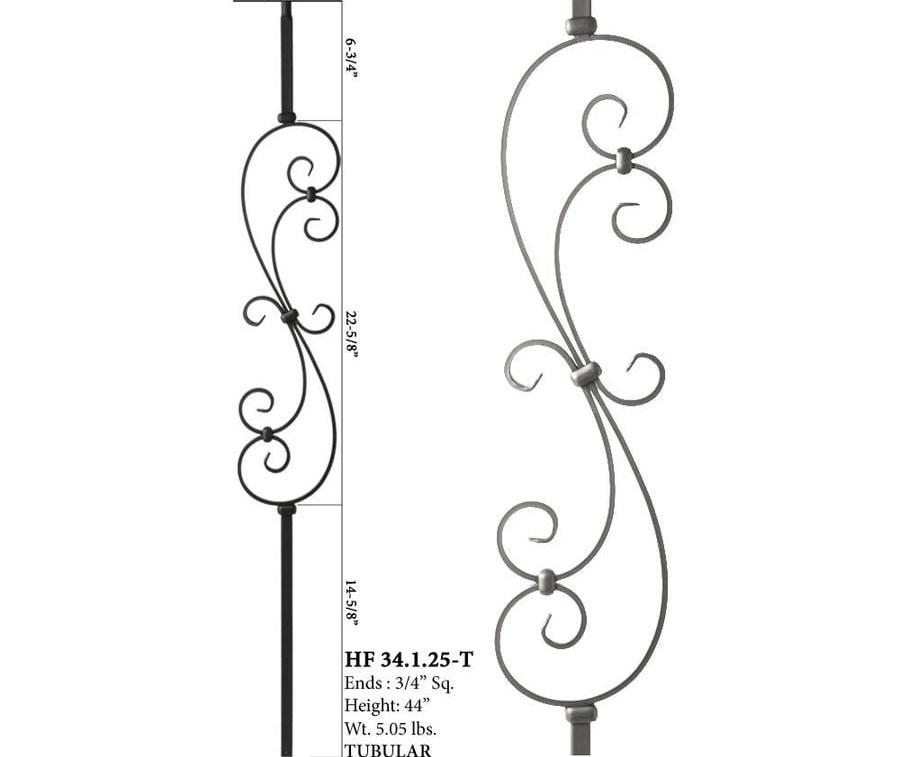 House Of Forgings Mega 44 In Ash Grey Wrought Iron Classic Stair | House Of Forgings Balusters | Oval | Contemporary | Oil Rubbed | Modern | Forged Steel