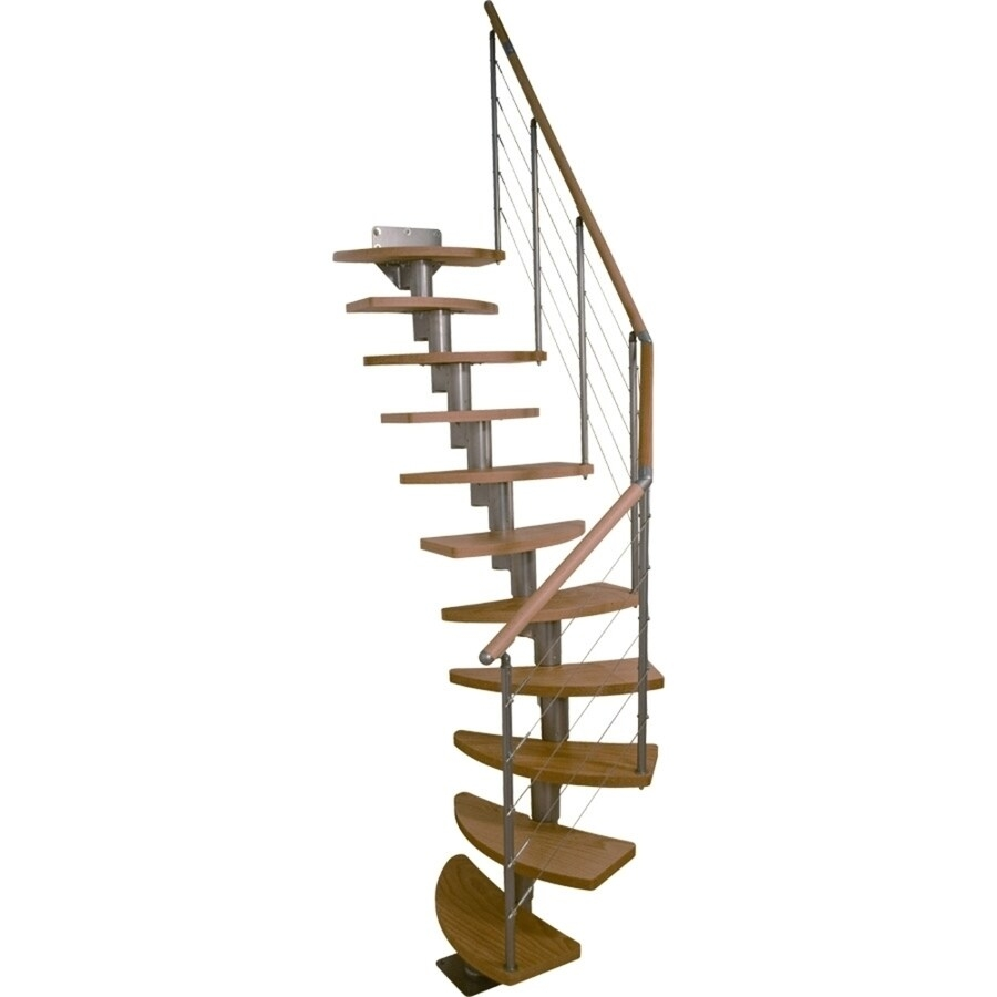 Dolle Rome 11 5 Ft Grey With Wood Treads Modular Staircase Kit In   Wood Alternating Tread Stair   Loft Stairs   Thebestwoodfurniture   Stair Railing   Staircase Design   Tread Depth