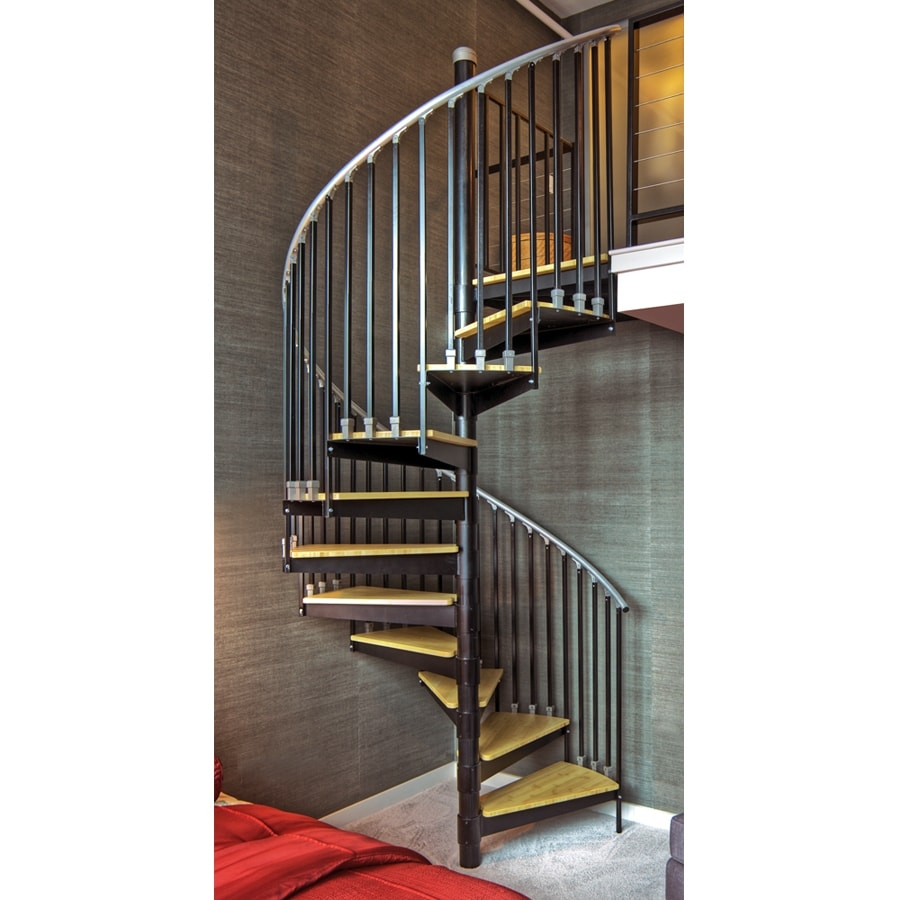 The Iron Shop Ontario 48 In X 10 25 Ft Black Spiral Staircase Kit | 12 Foot Spiral Staircase | Lowes | Stair Treads | Black Spiral | Steel | Gray Interior