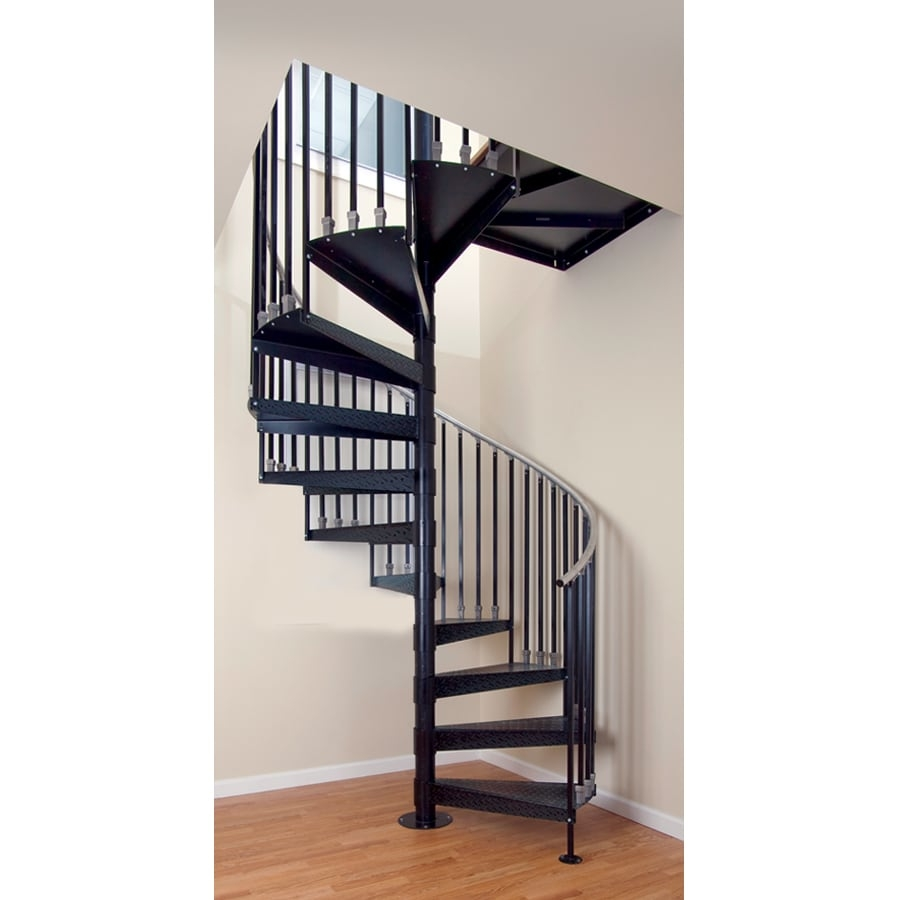 The Iron Shop Elk Grove 42 In X 10 25 Ft White Spiral Staircase | Iron Spiral Staircase For Sale | Grey Exterior | Wrought Iron | Ornate | Helical Staircase | Architectural Salvage