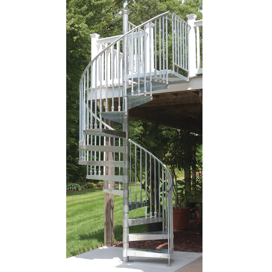 The Iron Shop Venice 60 In X 10 25 Ft Galvanized Spiral Staircase   Outdoor Spiral Staircase Lowes   Treads Spiral   Wood Treads   Arke Eureka   Glass Railings   Slip Stair