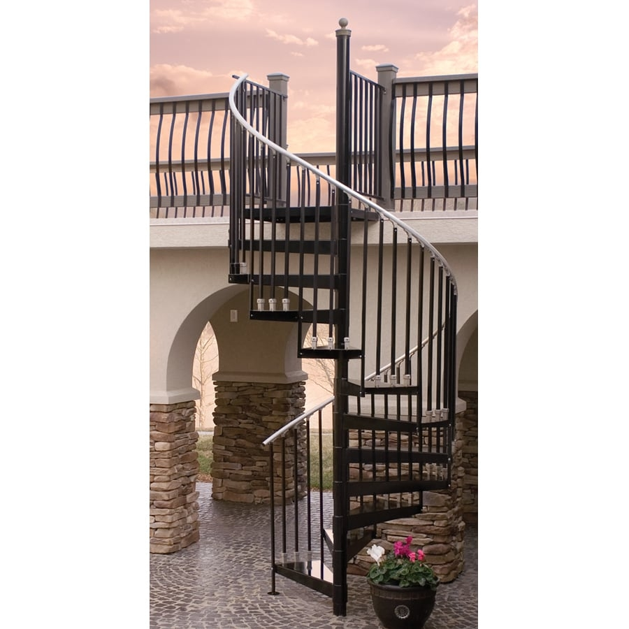 The Iron Shop Houston 42 In X 10 25 Ft Black Spiral Staircase Kit | 12 Foot Spiral Staircase | Lowes | Stair Treads | Black Spiral | Steel | Gray Interior