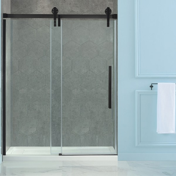 Shop Shower Doors at Lowes com OVE Decors Sedona 58 25 in to 59 25 in W Frameless Oil Rubbed Bronze