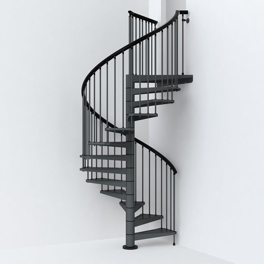 Arke Sky030 63 In X 10 Ft Iron Grey Spiral Staircase Kit In The | Flexible Handrail For Spiral Staircase | Staircase Ideas | Stair Kit | Loft Stairs | Stair Parts | Modern Staircase