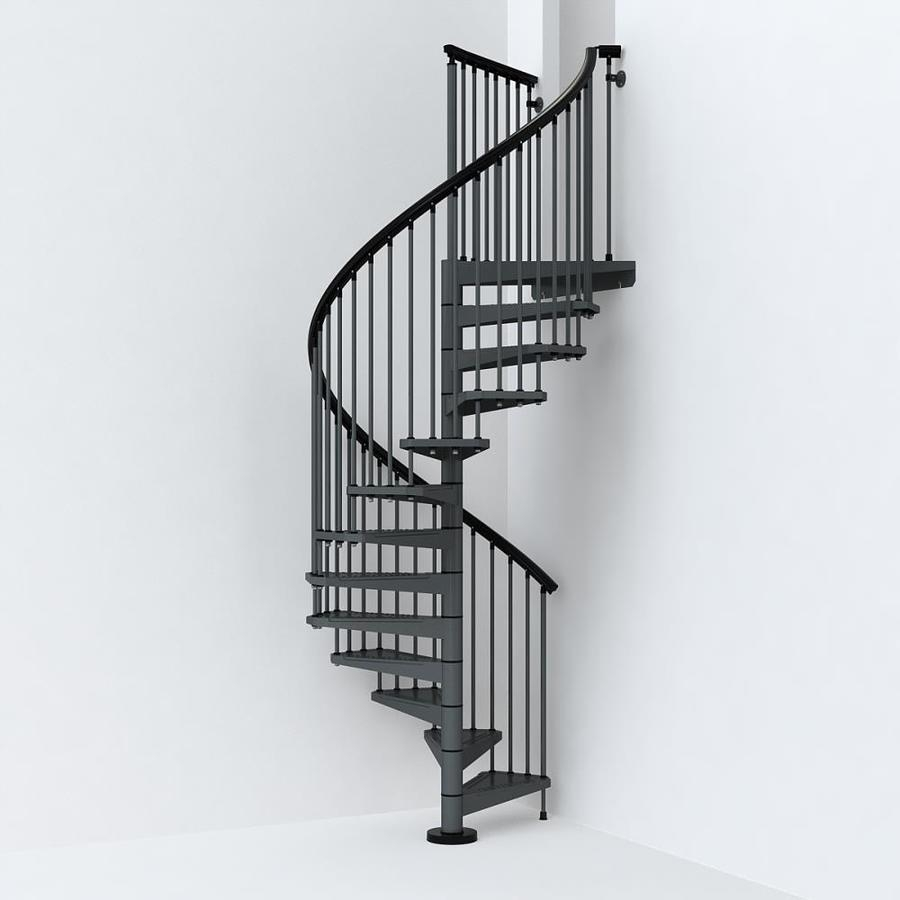 Arke Sky030 55 In X 10 Ft Iron Grey Spiral Staircase Kit In The | Flexible Handrail For Spiral Staircase | Staircase Ideas | Stair Kit | Loft Stairs | Stair Parts | Modern Staircase