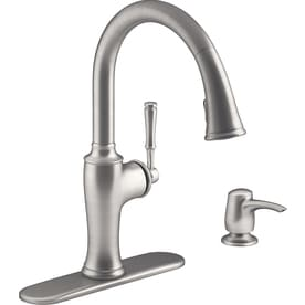 Shop KOHLER Kitchen Faucets at Lowes com KOHLER Cardale Vibrant Stainless 1 Handle Pull Down Kitchen Faucet