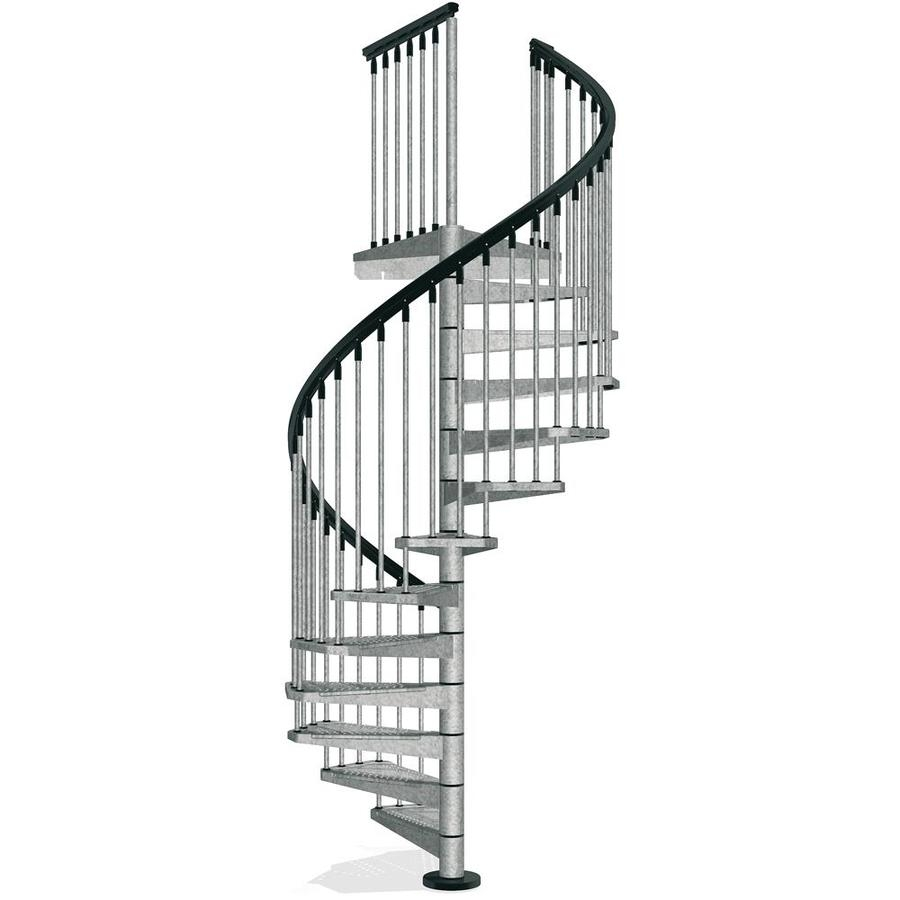 Arke Enduro 55 In X 10 Ft Gray Spiral Staircase Kit In The | 10 Foot Spiral Staircase | Reroute Galvanized | Lowes | Stair Kit | Winding Staircase | Staircase Kit
