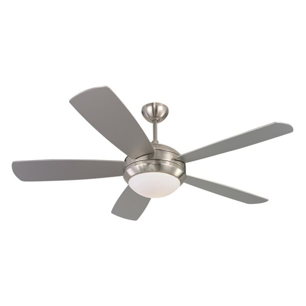 Shop Monte Carlo Fan Company Discus 52 in Brushed steel Indoor     Monte Carlo Fan Company Discus 52 in Brushed steel Indoor Ceiling Fan with  Light Kit