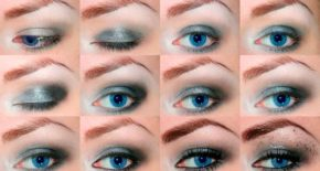 Maquillage pour les yeux bleus avec un siècle suspendu