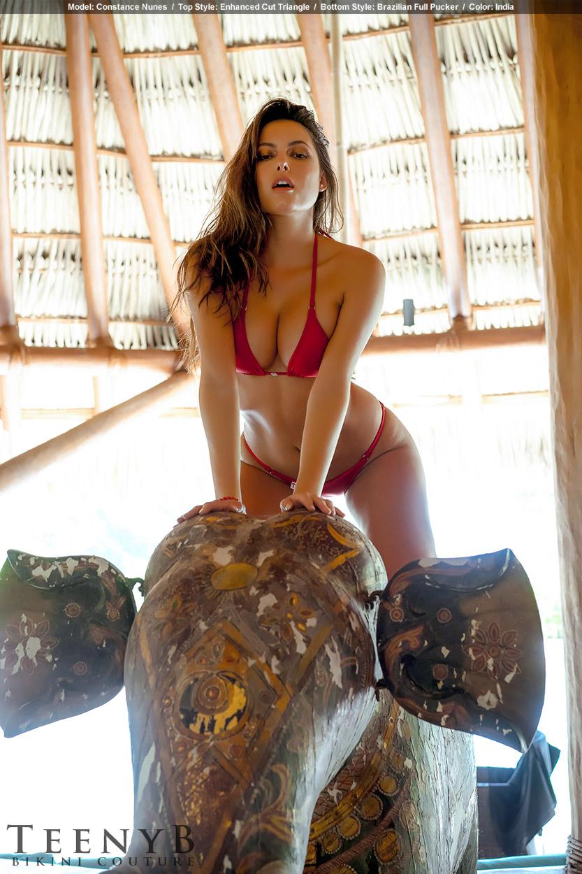 Constance Nunes In A Red Bikini