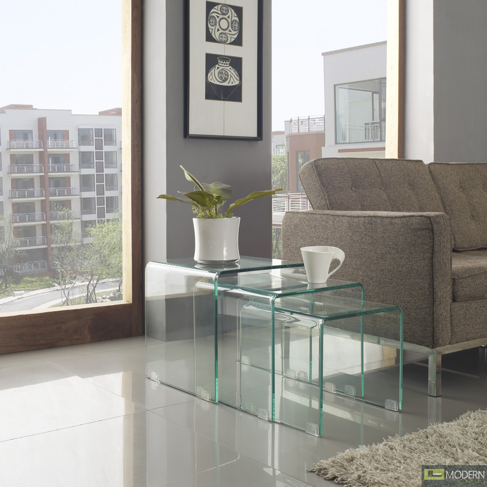 3pc Glass Nesting Coffee Tables