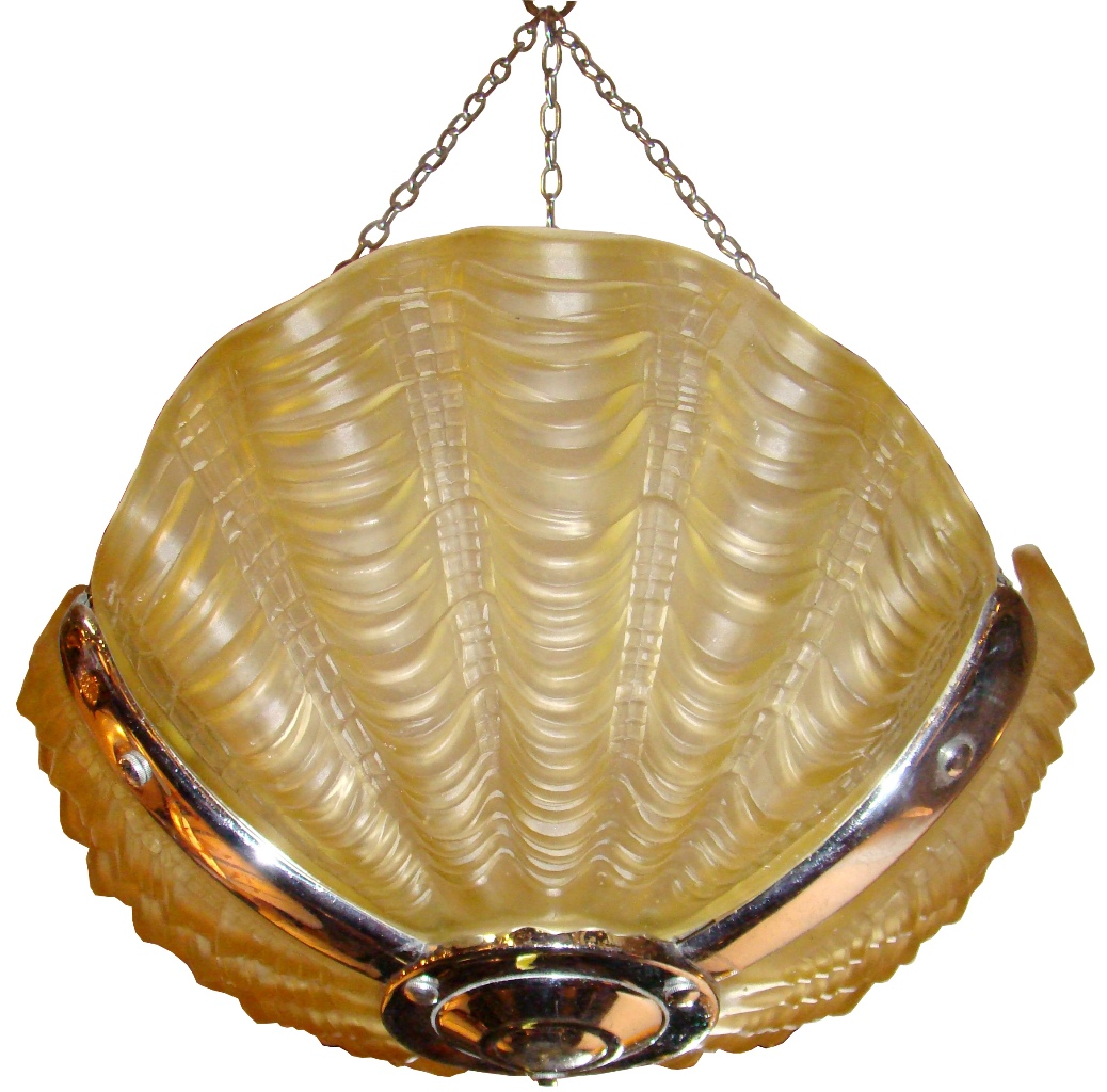 1930 S French Art Deco Clam Shell Amber Light Fixture