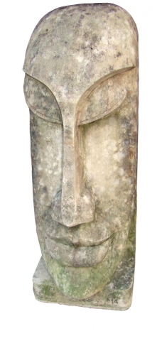 Large Vintage Carved Sculpture Of A Pacific Island Head