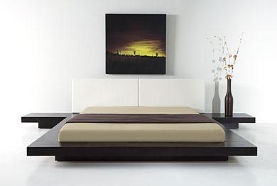 Japanese Style Platform Bed Frame Wenge Walnut Black