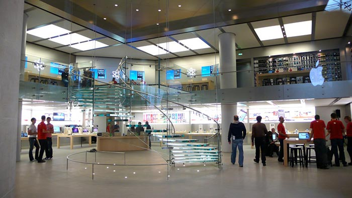 The Top 10 Apple Stores in the Entire World This Apple Opera Store is located in Carrousel du Louvre  Paris France and  is one of the most amazing retail buildings in the area