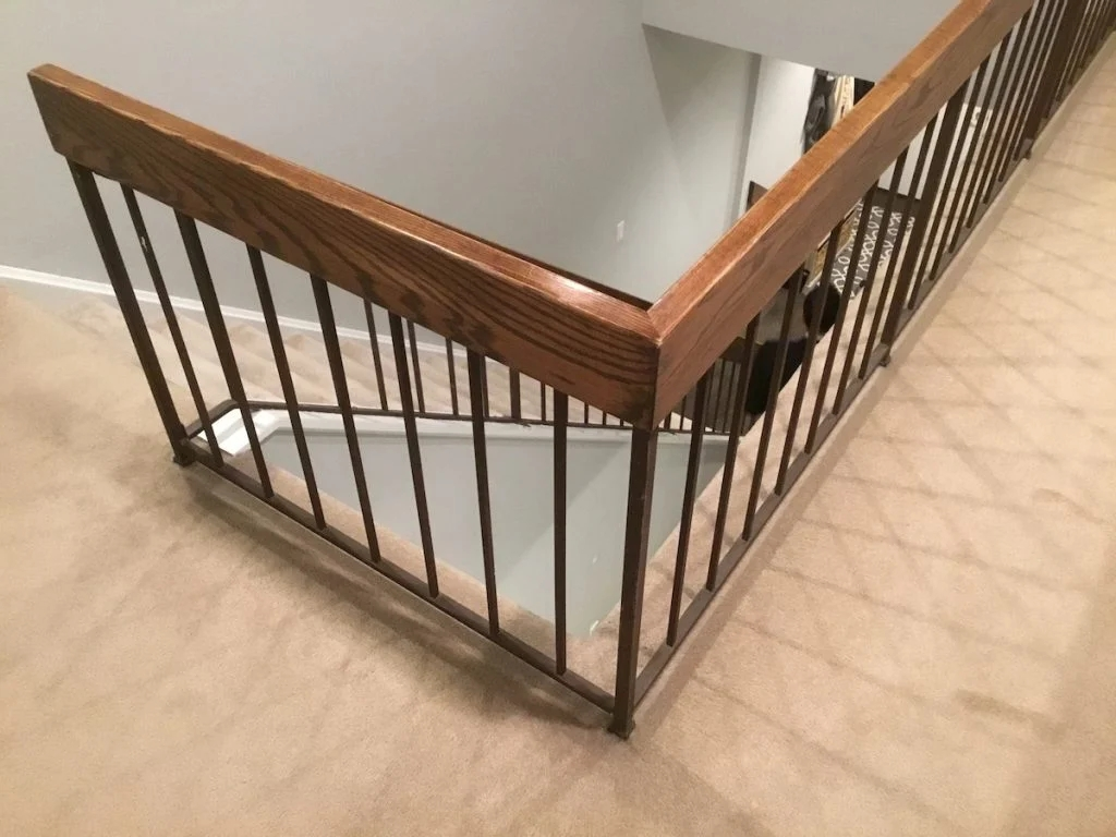 New Staircase Railing And Spindles Monk S Home Improvements | Wood And Metal Handrail | Farmhouse | Contemporary | Indoor | Industrial | Modern
