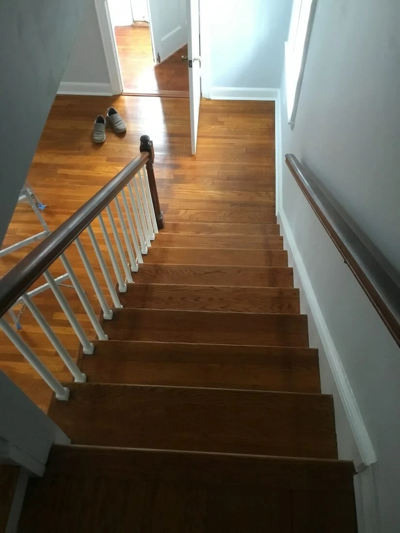 Refinishing Hardwood Stairs Before After Stair Remodel Ideas | Wood Floors And Stairs | Beautiful | Wood Plank | Oak | House | Wood Flooring