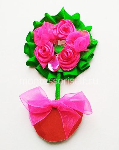 Магнит - топиарий с цветами на 8 марта