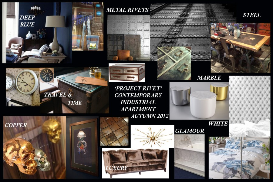 Mood   ideas board for a glamorous yet industrial interior design     Mood   ideas board for a glamorous yet industrial interior design look