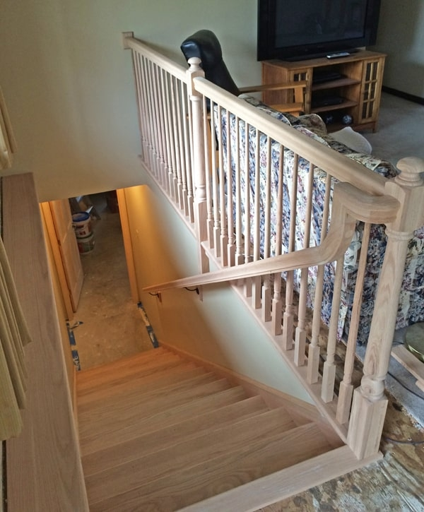 How To Move A Stairwell Mosby Building Arts Right Bath | Basement Stairs In Middle Of Kitchen | Open Plan | Square Shaped | Finished | Galley | Ranch