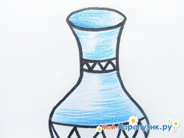 Krok za krokem kreslení váza s barevnými tužkami - foto 11