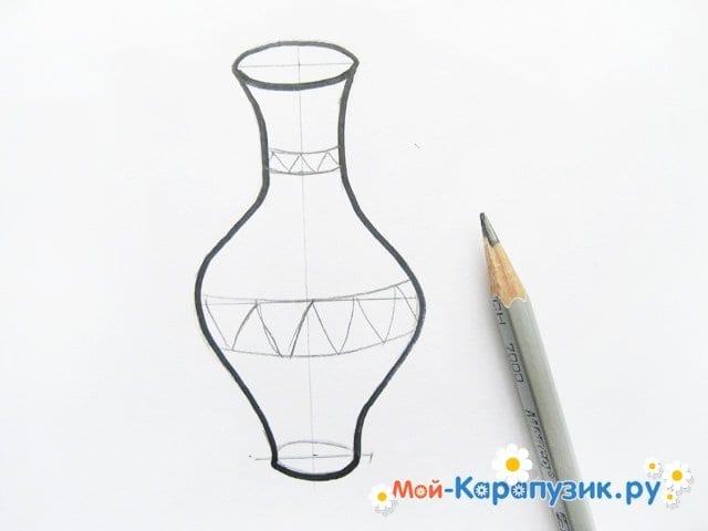 Krok za krokem kreslení váza s barevnými tužkami - foto 7