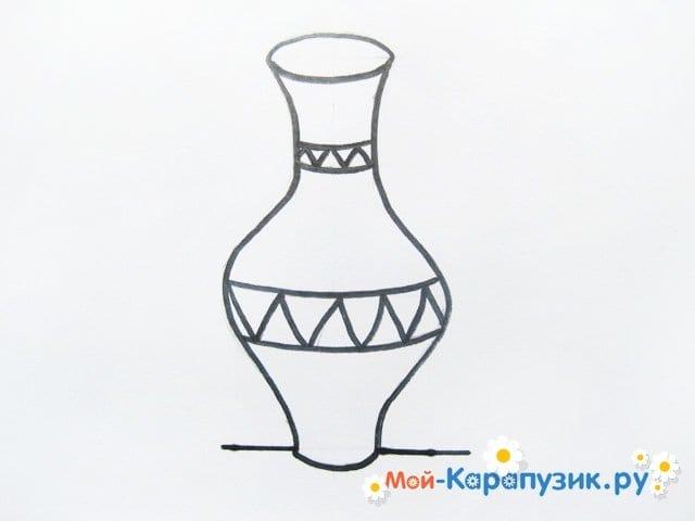 Krok za krokem výkresu váza s barevnými tužkami - Foto 8