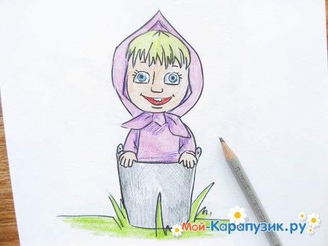 """Поэтапное рисование Маши из м/ф """"Маша и Медведь"""" цветными карандашами - фото 15"""