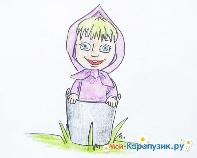 """Поэтапное рисование Маши из м/ф """"Маша и Медведь"""" цветными карандашами - фото 16"""
