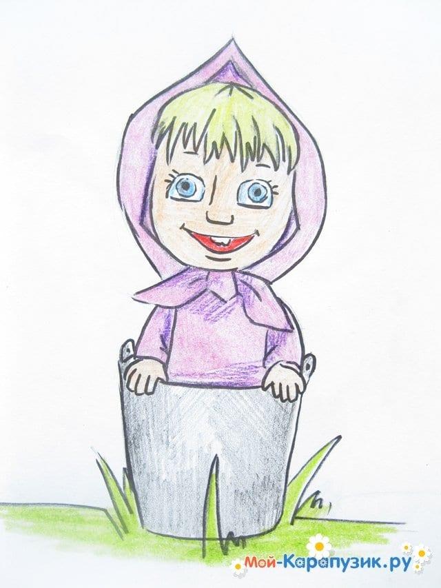 """Поэтапное рисование Маши из м/ф """"Маша и Медведь"""" цветными карандашами - фото 17"""