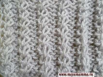 Motivi per sciarpe a maglia con aghi per maglieria - Gomma bilaterale duplex con anelli in movimento per sciarpa