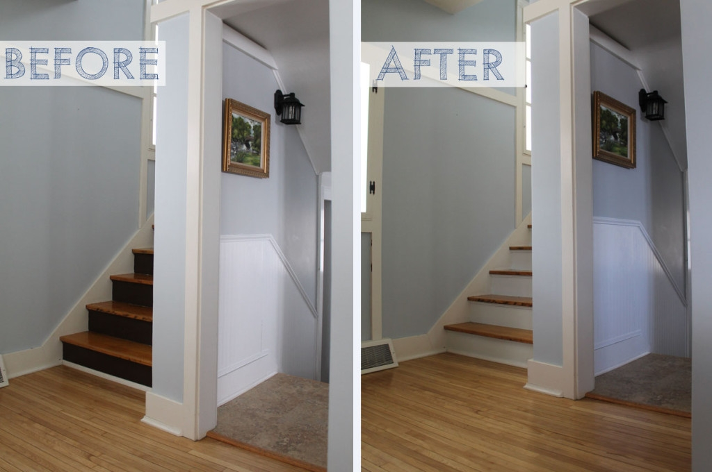 Before After Boring Brown Stair Risers Go Whiter Brighter | Painted Risers On Stairs | Flair | Painting | Stained | Basement | Hardwood