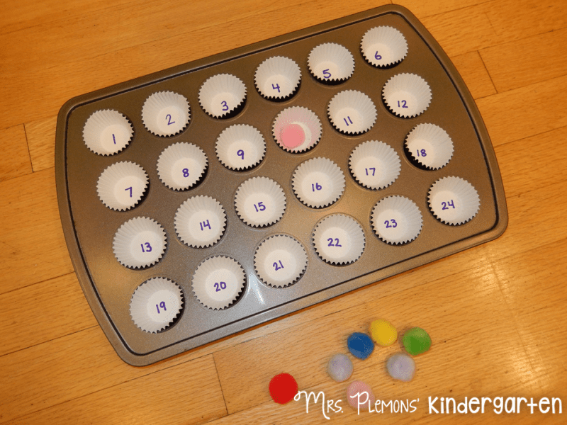 Easy DIY Math Games   Mrs  Plemons  Kindergarten Then for a number id game  have students set the tin on the floor and play     pom pom drop     Each student takes a turn drops a pom pom and then names  the