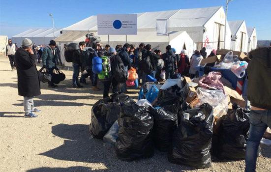 Flygtningelejren ved Idomeni i Grækenland på grænsen til Makedonien