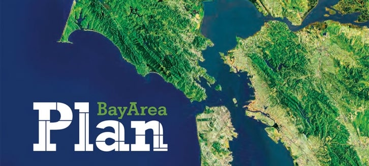 Plan Bay Area   Plans   Projects   Our Work   Metropolitan     Plan Bay Area logo with regional map int he background