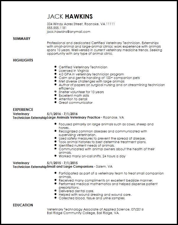 Veterinary Assistant Resume Mt Home Arts