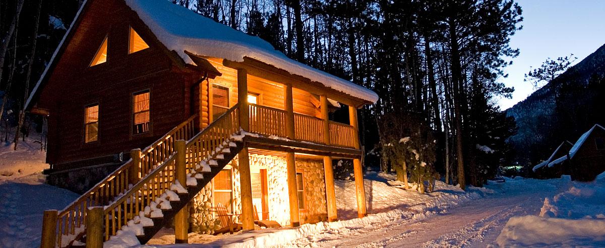 Snow Log Cabin Fireplace