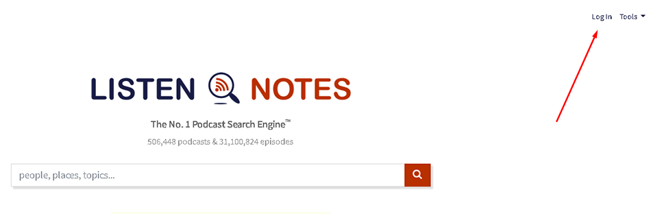 Logar no Listen Notes