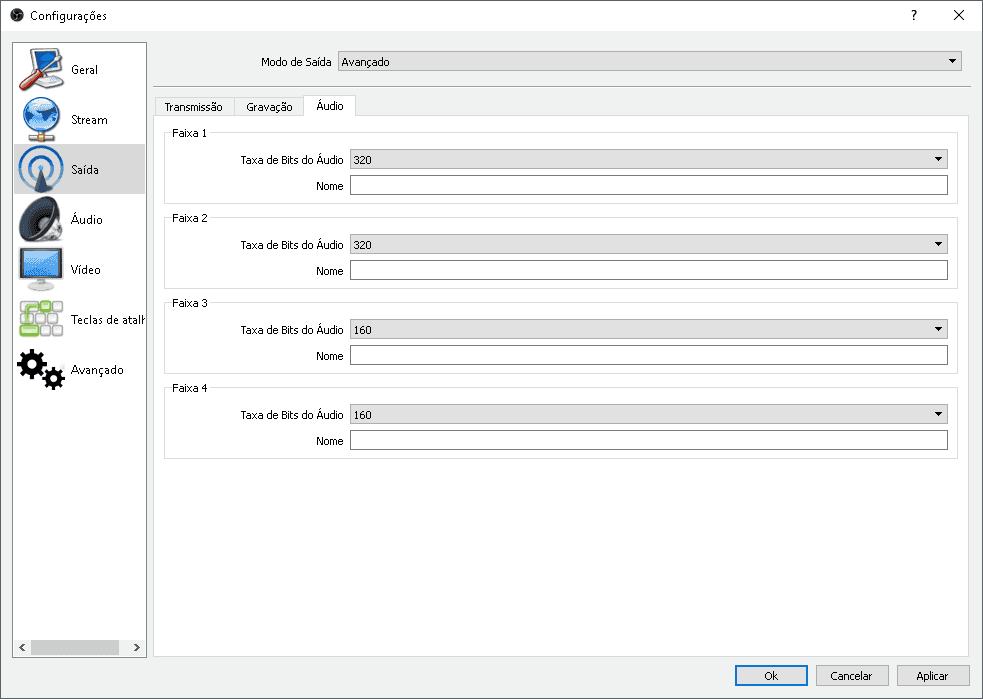 Configurando a taxa de bits dos canais de aúdio
