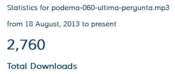 Downloads do podcast no site: 7760 downloads