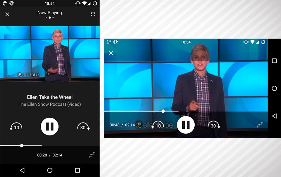 Player de podcasts em vídeo no pocket Casts Mobile