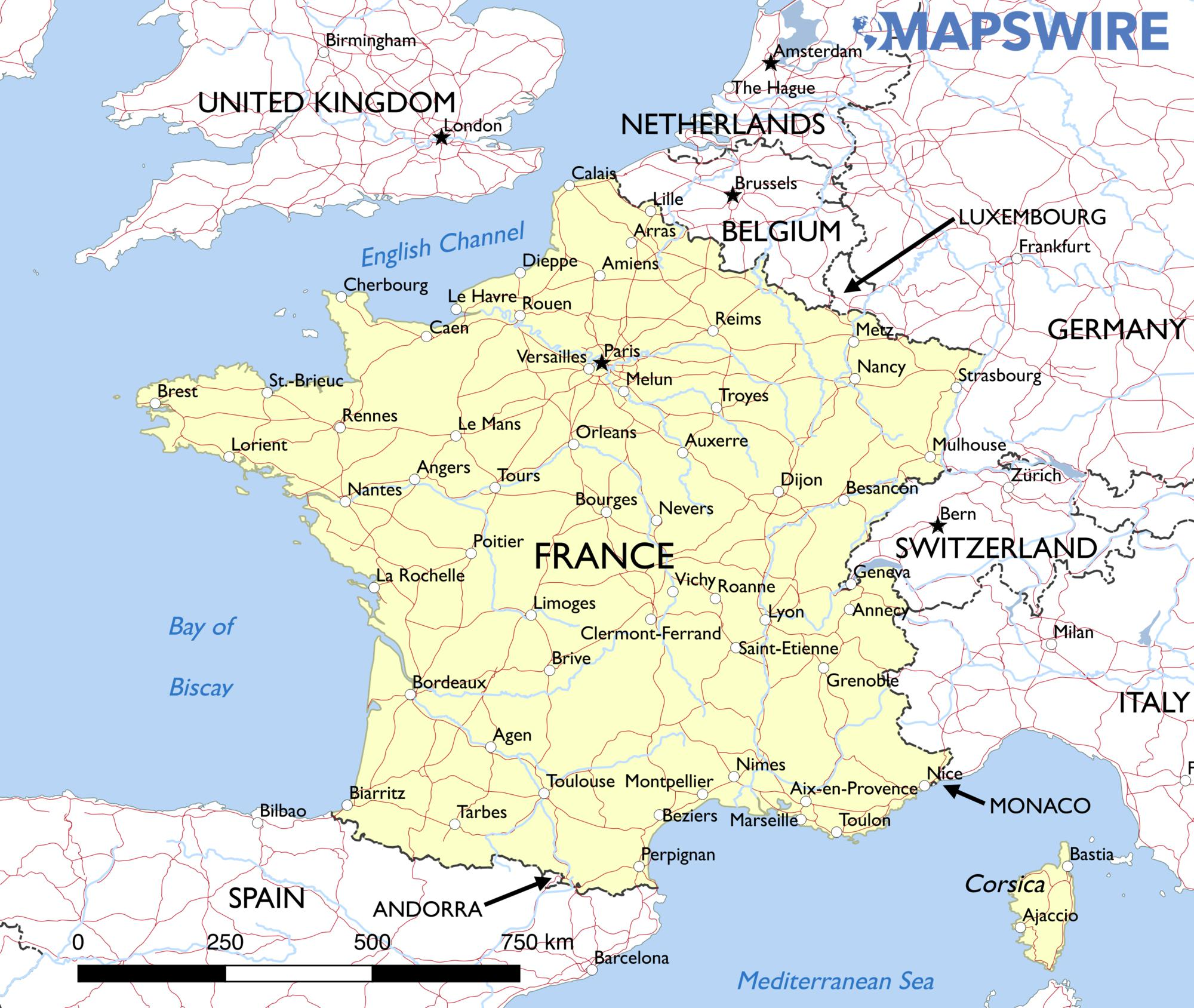 A Map Of France With Cities.Map France Cities And Towns Showing Saillat