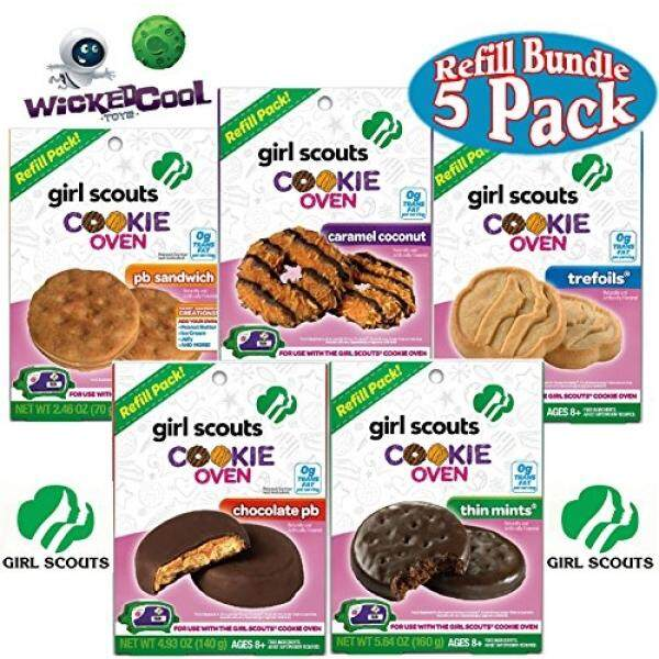 Girl Scouts Cookie Oven Refills Thin Mints, Chocolate PB, Trefoils, PB Sandwich & Caramel Coconut Complete Gift Set Bundle - 5 Pack - intl