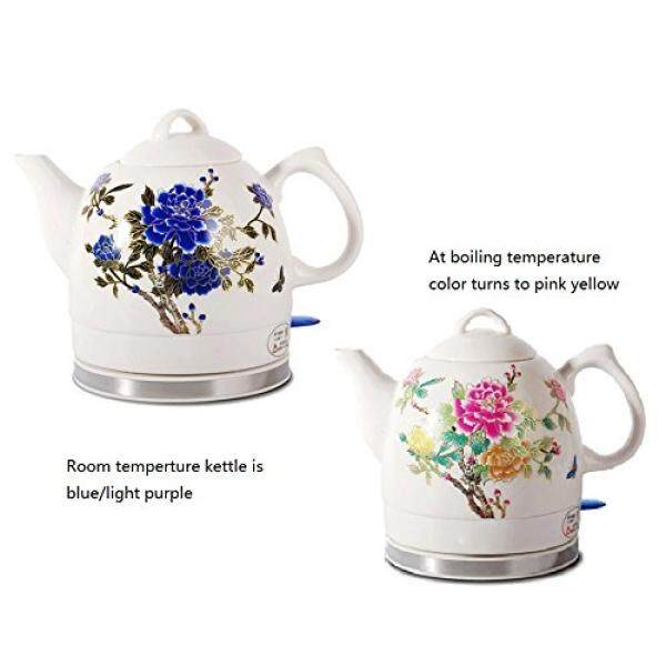 Fixture Displays Ceramic Electric Kettle with Peony Flower Pattern Two-tone No-Plastic Parts 15000 15000 - intl