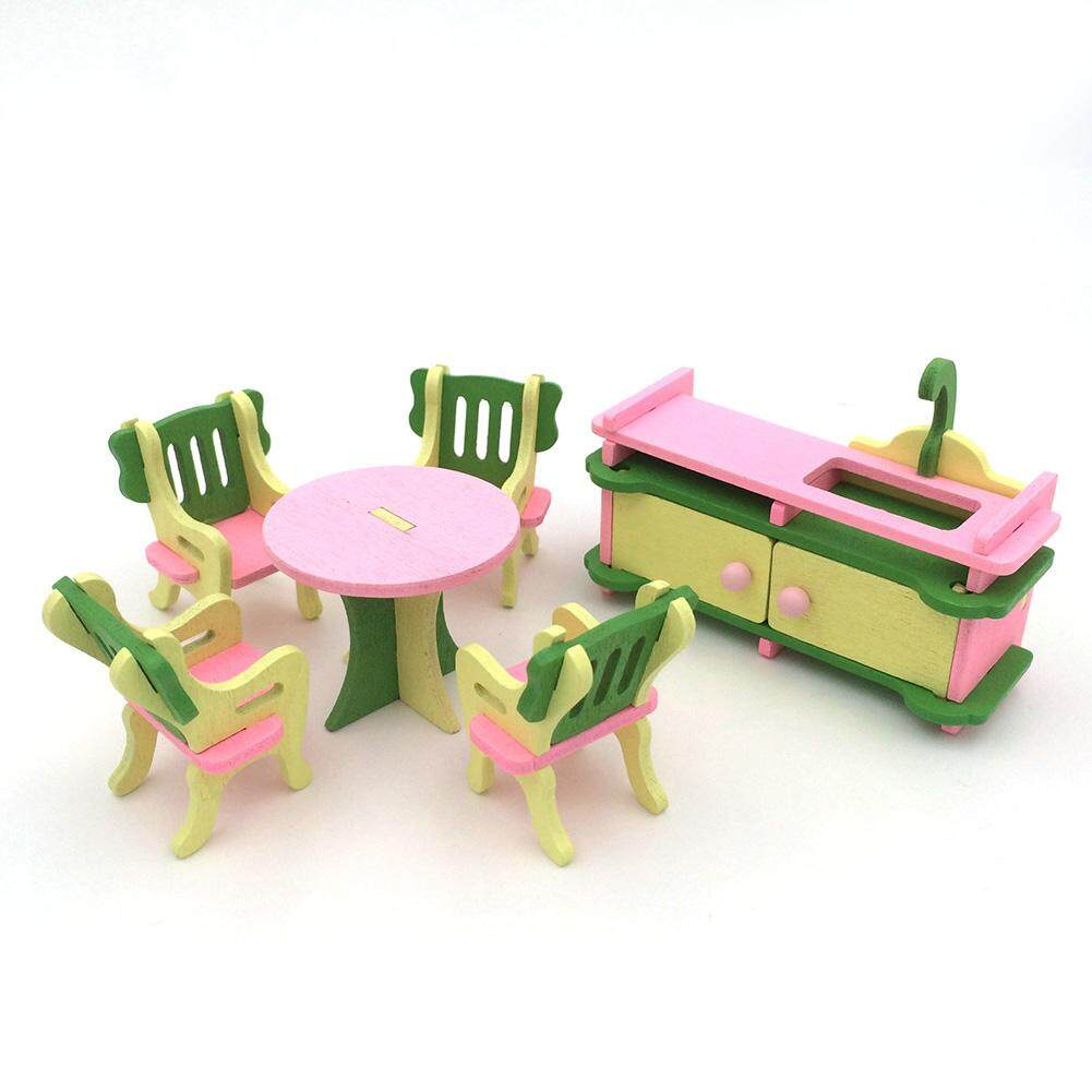 Creative Wooden Simulation Furniture 3D Assembly Puzzle Set Building Construction Blocks Jigsaw Puzzle Toys Style:Kitchen - intl