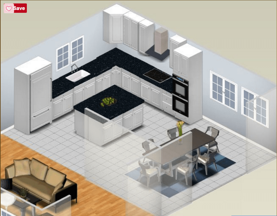 L Shaped Kitchen Plan