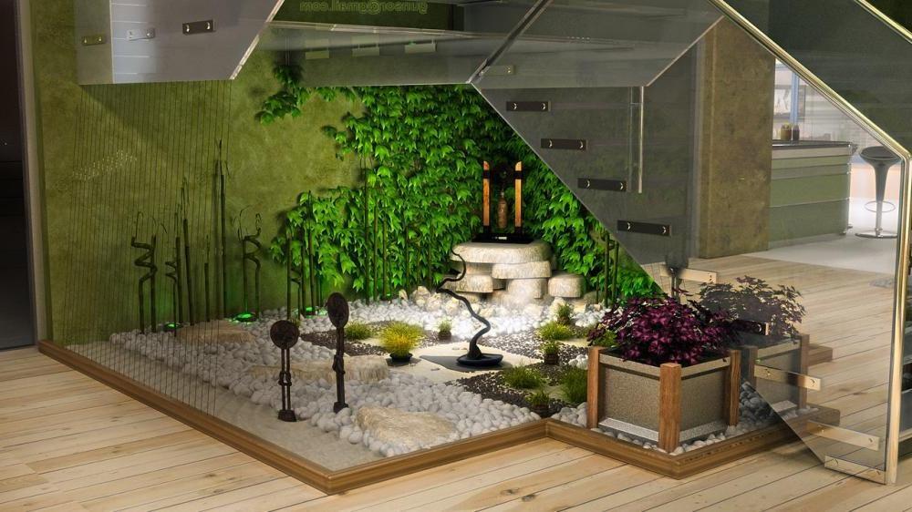 Aigdi50 Astounding Indoor Garden Design Ideas Today 2020 08 14 | Under Stair Garden Design | Plant | Ideas | House | Stair Case | Pebble Garden