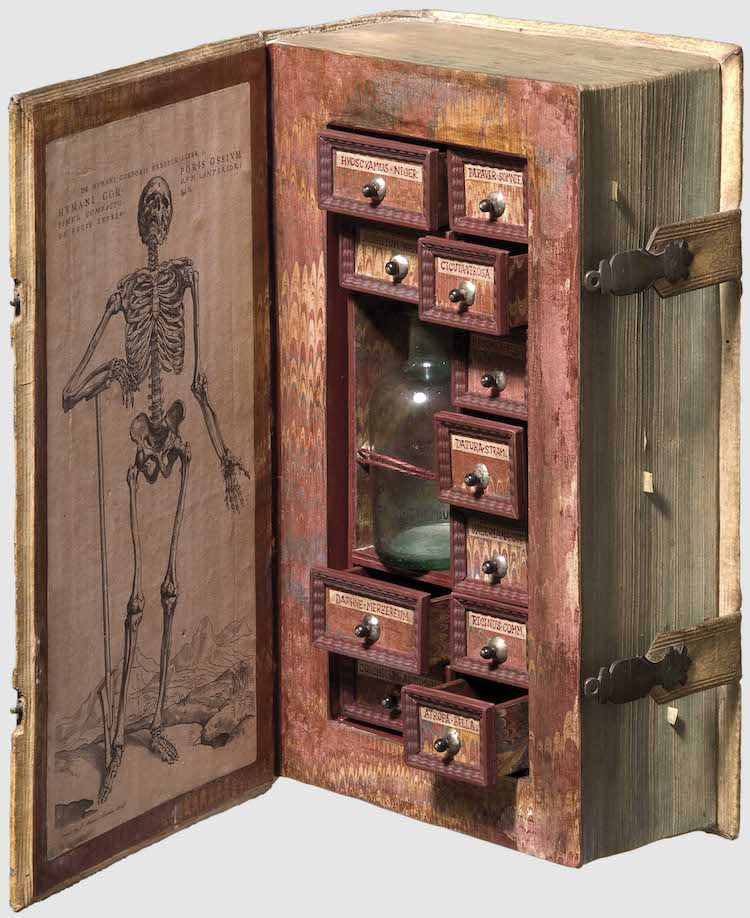 16th Century Poison Cabinet Created from Hollowed Out Book Secret Poison Cabinet