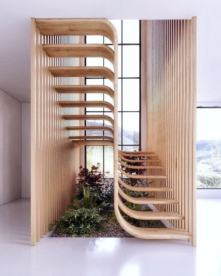 Modern Stair Design Resembles A Strand Of Dna Inside A Home   Modern Staircase Window Design   Corner   Indian   Stair Case   Fixed Frame   Beautiful