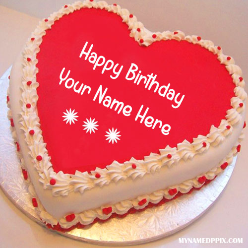Write Name On Heart Look Birthday Cake My Name Pix Cards